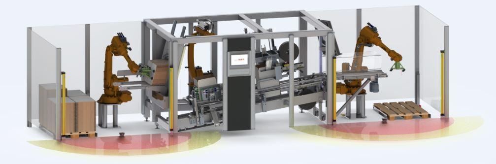 Der ROBOT-FLEXLINE-CASEPACKER mit AUTOMATISCHER MAGAZINBELADUNG von transnova-RUF